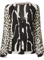 Roberto Cavalli Sheer Sleeve Animal Print Cardigan Black