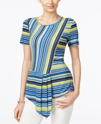 Eci Striped Asymmetrical Hem Top Cool Stripe