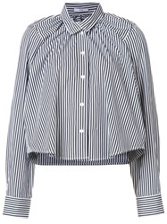 Tome Striped Gathered Cropped Shirt White