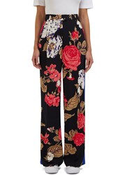 Msgm Floral Print Wide Leg Pants Black