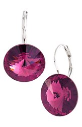 Women's L. Erickson 'Celeste' Round Crystal Drop Earrings Amethyst Silver