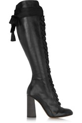 Chloe Lace Up Leather Knee Boots Black