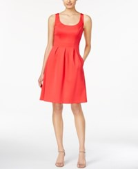 Nine West Sleeveless Pleated Fit And Flare Dress Coral