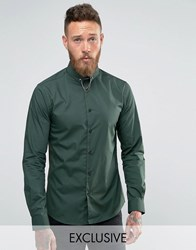 Noose And Monkey Skinny Shirt In Khaki With Collar Bar Khaki Green