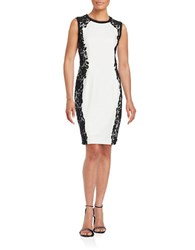 T Tahari Doris Sleeveless Lace Trimmed Sheath Dress Antique