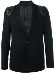 Les Hommes Quilted Shoulder Blazer Black