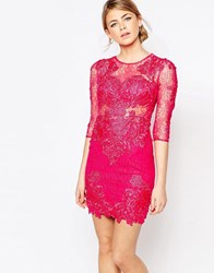 Forever Unique All Over Lace Dress Fushia