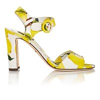 Dolce And Gabbana Women's Lemon Brocade Ankle Strap Sandals Yellow