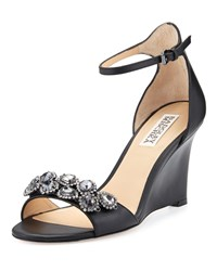 Badgley Mischka Clear Crystal Leather Dressy Sandal Black