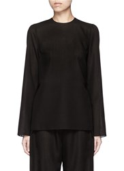 Ms Min Tie Side Sheer Wool Blend Twill Top Black
