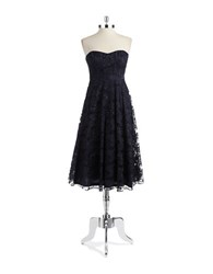 Hailey Logan Lace Tea Length Dress Navy