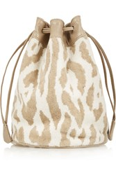 Maslin And Co Leather Trimmed Cotton Terry Bucket Bag Nude