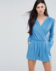 Love Long Sleeve Wrap Front Playsuit Denim Blue