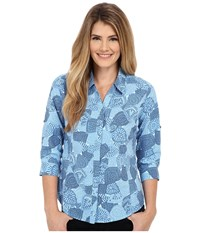 Royal Robbins Expedition Stretch 3 4 Sleeve Print Top Light Lapis Women's Long Sleeve Button Up Blue