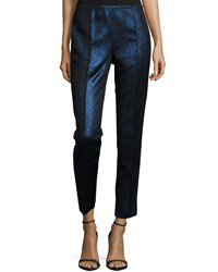 Lafayette 148 New York Metallic Front Skinny Pants Delft Multi