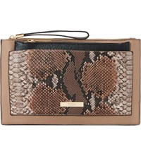 Dune Essa Removable Pouch Faux Leather Clutch Taupe Reptile