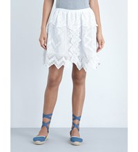 Place Nationale Tiered Vintage Lace Skirt White