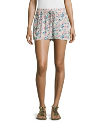 French Connection Drawstring Waist Floral Print Shorts Party Pink Multi