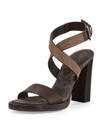 Halter Wrap Monili Chain High Heel Sandal Espresso Brunello Cucinelli Brown