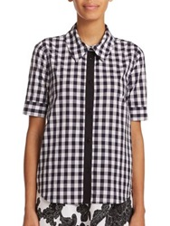 Tanya Taylor Sally Gingham Button Front Shirt Navy Gingham