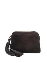 The Row Horse Hair Tassel Suede Wristlet Clutch