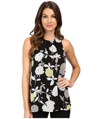 Vince Camuto Sleeveless Chapel Rose Blouse Shadowy Green Women's Blouse Black