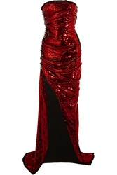 Balmain Safety Pin Embellished Sequined Silk Gown