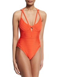Herve Leger Bandage One Piece Monokini Swimsuit Vermillion Women's