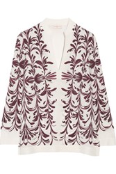 Tory Burch Printed Silk Georgette Top Burgundy