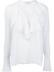 Yigal Azrouel 'Ruffle Front' Blouse White