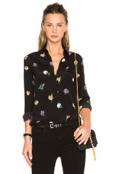 Saint Laurent Oversize Aerial Flower Blouse In Black Floral