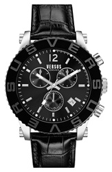 Versus By Versace 'Madison' Chronograph Leather Strap Watch 42Mm Black Silver