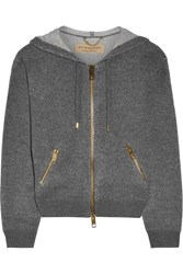 Burberry Brit Cashmere And Cotton Blend Hooded Top Gray