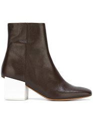 Jacquemus Chunky Heel Ankle Boots Brown