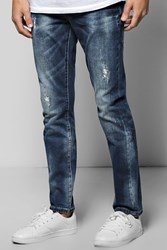Boohoo Fit Destroyed Effect Jean Blue