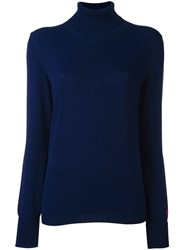 Tory Burch Roll Neck Jumper Blue