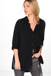 Boohoo Oversized Roll Sleeve Denim Look Shirt Black