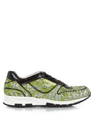 Lanvin Sequin Embellished And Patent Leather Trainers Green