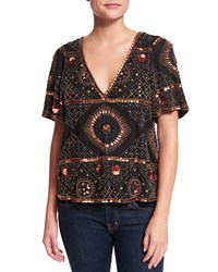 Antik Batik Imala Short Sleeve Embellished Tee Black