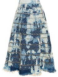 Ashish Studded A Line Denim Skirt Blue