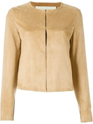 Drome Collarless Boxy Jacket Nude And Neutrals