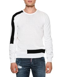 Dsquared Contrast Banded Crewneck Sweater White