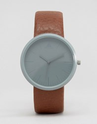 Asos Sleek Watch In Gunmetal And Brown Brown