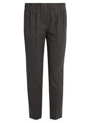 Brunello Cucinelli Elasticated Waist Flannel Wool Blend Trousers Dark Grey