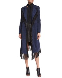 Haute Hippie Suede Fringe Coat Midnight