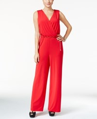Thalia Sodi Surplice Belted Jumpsuit Only At Macy's Lipstick Red