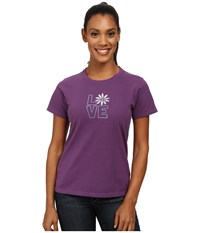 Life Is Good Crusher Tee Stacked Love Daisy Smoky Plum Women's T Shirt Purple