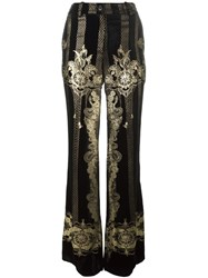 Roberto Cavalli Gold Tone Detailing Wide Legged Trousers Black