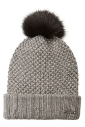 Burberry Shoes And Accessories Wool Cashmere Hat With Fox Fur Pompom Grey