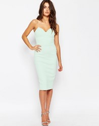 Asos Deep Plunge Scuba Midi Bodycon Dress Mint Blue